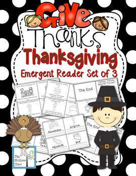 Thanksgiving Emergent Reader Mini-Book Set of 3 K-1