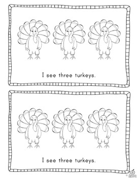 Thanksgiving Emergent Reader: Turkey Counting with One-to-One Correspondence