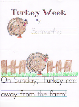 Thanksgiving Emergent Reader - Turkey Week