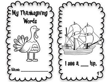 Thanksgiving Emergent Reader and Fill-In-The-Blank Book (Differentiated)