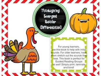 Thanksgiving Emergent Reader and Fill-In-The-Blank Book (D
