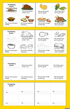 Thanksgiving Activities Readers - 2 Reading Levels+Vocab-Thanksgiving Dinner!