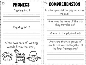 Thanksgiving Emergent Reader and Literacy Packet