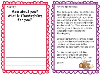 Thanksgiving Emergent Reader-sight words:for, is