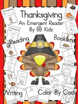 Thanksgiving Emergent Reader with Writing and Color by Code Pages Included