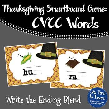 Thanksgiving Ending Blends/CVCC Words Game for Smartboard