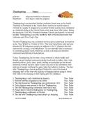 Thanksgiving Cultural Reading - (Pilgrims, Mayflower) ESL / EFL / ELL