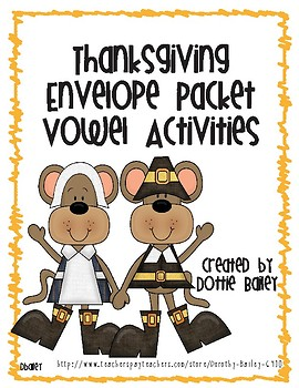 Thanksgiving Envelope Activities - Vowels - Long/Short