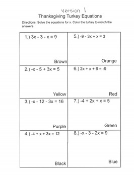 Thanksgiving Equations Coloring Sheet