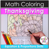 Thanksgiving Equations & Proportions Coloring Pages