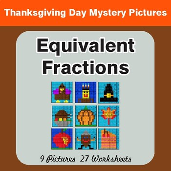 Thanksgiving: Equivalent Fractions - Color-By-Number Math Mystery Pictures
