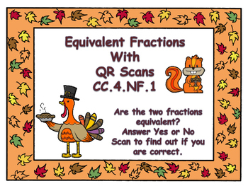 Thanksgiving Equivalent Fractions Task Cards with QR Codes