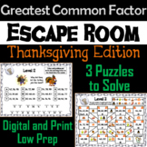 Thanksgiving Escape Room Math: Greatest Common Factor Game 4th 5th 6th 7th Grade
