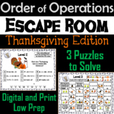 Thanksgiving Escape Room Math: Order of Operations Game (4th 5th 6th 7th Grade)