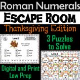 Thanksgiving Escape Room Math: Roman Numerals Game (4th 5th 6th 7th Grade)