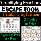 Thanksgiving Escape Room Math: Simplifying Fractions Game; 4th 5th 6th 7th Grade