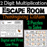 Thanksgiving Escape Room Math: Two Digit Multiplication Game (3rd 4th 5th Grade)