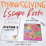 Thanksgiving Escape Room [Print and Go! | Literacy | ELA | Reading]