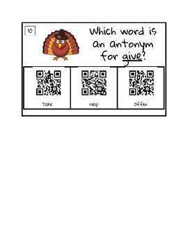 Thanksgiving Escape Room-Synonyms and Antonyms