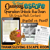 Thanksgiving Escape Room for Fifth Grade Math Content! Dig