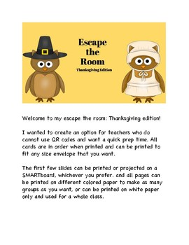 Thanksgiving Escape the Room - No QR Codes