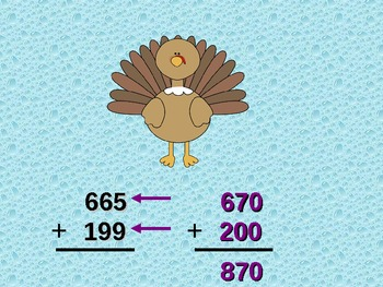 Thanksgiving Estimate Sums By Rounding To The Nearest Ten