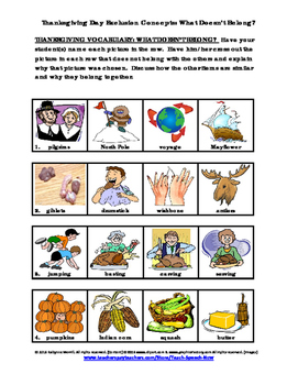 """Thanksgiving Exclusion Concepts: """"What Doesn't Belong?"""""""