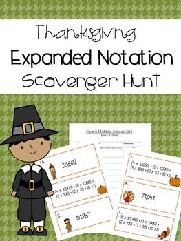 Thanksgiving Expanded Notation Scavenger Hunt