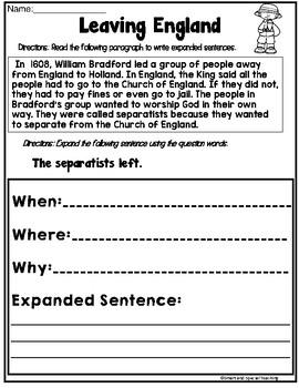 Thanksgiving Sentences   (Hochman Writing Inspired)