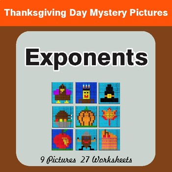 Thanksgiving: Exponents - Color-By-Number Math Mystery Pictures