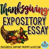 Thanksgiving Essay - Grades 7-10 - CCSS Aligned