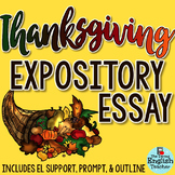 Thanksgiving Essay - Grades 7-10 - CCSS Aligned