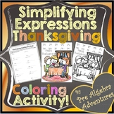 Thanksgiving Simplifying Algebraic Expressions Activity {Worksheet} {Coloring}