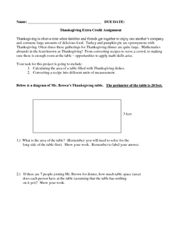 Thanksgiving Extra Credit Assignment