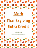 Thanksgiving Extra Credit for Math Grades 7-9