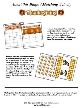 Thanksgiving Bingo Matching Activity Set