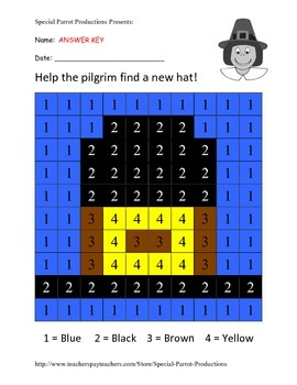 Thanksgiving FREE - Pilgrim Hat - Color By Number!