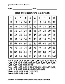 Thanksgiving - Pilgrim Hat - Hundreds Chart!