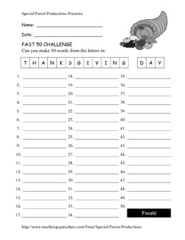 Thanksgiving Day FREE - How Many Words Can You Make?