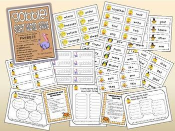 Thanksgiving FREEBIE – Gobble! Sight Word Game & ABC Order Center