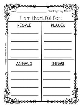 Thanksgiving FREEBIE ~ Nouns