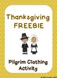 Thanksgiving FREEBIE! Pilgrim Clothing Activity