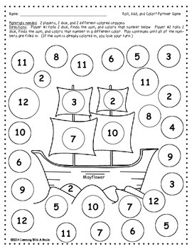 Thanksgiving FREEBIE ~ Roll, Add, & Color Partner Game ~ Math ~ Print & Play!