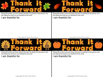 Thanksgiving FREEBIE:  Thank It Forward!