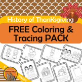 FREE History of Thanksgiving Coloring Pages with Traceable Vocab Words