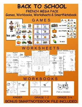 Thanksgiving FRENCH MEGA Pack (games,worksheets,workbooks & Smartnotebook)