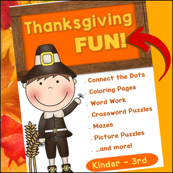 Thanksgiving FUN - Puzzles, Games & More (PRINT and GO)