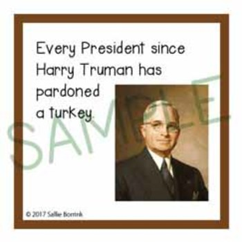 Thanksgiving Unit Activity - Fun Fact Cards for Games, Bulletin Board