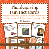 Thanksgiving Unit Activity - Fun Fact Cards for Games, Bul
