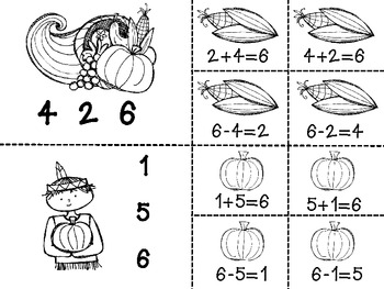 Thanksgiving Fact Families Math Centers & Printables -sums to 10(B&W set also)